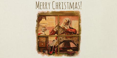 Santa's Workshop Santa Sack Print