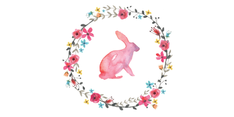 Watercolour Bunny & Posy Wreath